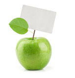 Green Apple with price tag Stock Photography