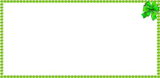 Green apple rectangle banner border with festive ribbon. Red apples rectangle frame border with festive bow ribbon isolated on white background. Vector template Royalty Free Stock Image