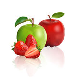 Green Apple, Red Apple And Strawberry Royalty Free Stock Photos