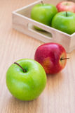 Green apple and red apple Stock Photos