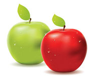 Green apple and red apple Royalty Free Stock Photography