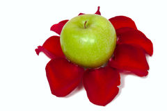 Green apple and rose petal isolated on white Stock Photo
