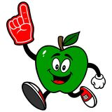 Green Apple Running with Foam Finger Royalty Free Stock Image