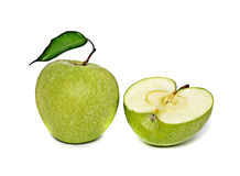 Green apple and section Royalty Free Stock Photos