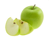 Green apple with segments. Royalty Free Stock Photography