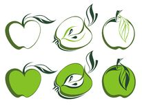 Green apple set Royalty Free Stock Image