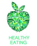 Green Apple sign, symbol, emblem or logo. For a healthy food diet, healthy lifestyle, vegetarianism, vegetable food Royalty Free Stock Photography