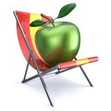 Green apple sitting in beach chair. Beauty healthy fresh food diet summer open air nutrition vegetarian concept. 3d render isolated on white Stock Images