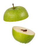 Green apple slice isolate on white Royalty Free Stock Photo