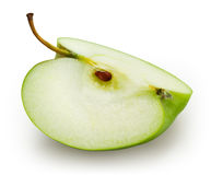 Green apple. Slice isolated on white. With clipping path Royalty Free Stock Photo