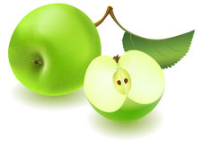 Green apple and slice with leaf Royalty Free Stock Photo