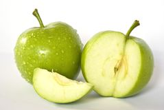 Apple slices. Green apple slices Royalty Free Stock Image