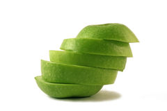 Green apple slices royalty free stock photography