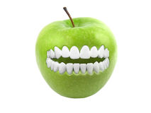 Green apple smiling Royalty Free Stock Photos