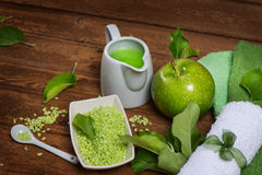 Green apple and spa item Royalty Free Stock Images