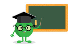 Green apple standing near blackboard with a pointer as  teacher Royalty Free Stock Photos