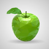 Green apple in the style of triangulation on a white background vector illustration