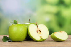 Green apple in summer with copyspace Royalty Free Stock Images