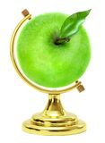 Green apple - terrestrial globe Stock Photos
