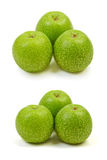 Green apple. Three big ripe green apple isolated on white background Stock Photos