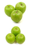 Green apple. Three big ripe green apple isolated on white background Stock Images