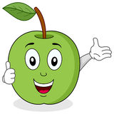 Green Apple Thumbs Up Character. A funny cartoon green apple character with thumbs up. Eps file available Stock Photos