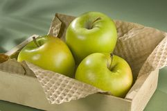 Green Apple Trio in Wooden Box Royalty Free Stock Photos