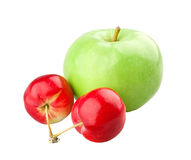 Green apple and two mini apples. On white background royalty free stock image