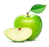 Green apple. Vector illustration of detailed big shiny green apple Royalty Free Stock Images
