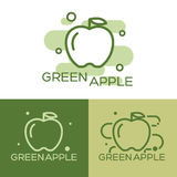Green apple - vector logo. The idea of a logo design for a company of organic products, vegetarian food, ecological goods and others Stock Image