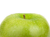 Green apple with water drops Stock Photo