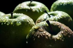 Green apple with water drops close-up macro Stock Images
