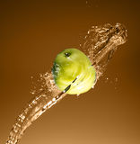 Green apple with water splash, on beige Royalty Free Stock Image