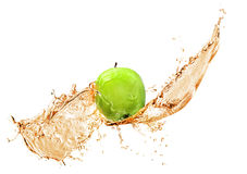 Green apple with water splash, isolated Royalty Free Stock Photo