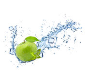 Green apple with water splashes on white Royalty Free Stock Images