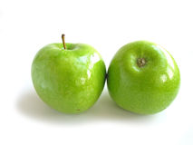 Green apple white Royalty Free Stock Images
