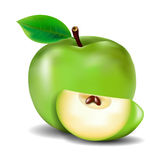 Green apple. On a white background Royalty Free Stock Photos