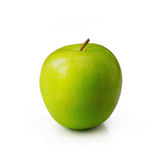 Green apple on white background. Green juicy Apple on white background Stock Photo