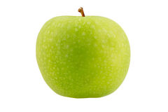 Green apple with on a white background. Green apple with leaf isolated on a white background Stock Image