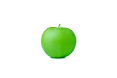 Green apple on white background. Side view Stock Photo
