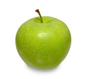 Green apple on white background. Green apple with water drops on isolated background Stock Photo