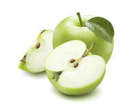 Green apple whole half quarter isolated on white background Royalty Free Stock Images