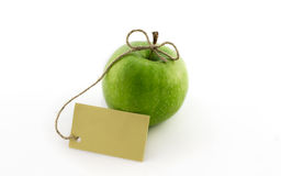 Free Green Apple With Card Royalty Free Stock Photos - 12936888