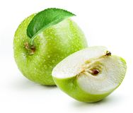 Green Apple With Slice Isolated White Background Royalty Free Stock Image