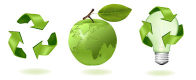 Green apple with world map and ecology icons. Royalty Free Stock Images