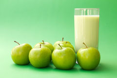 Green apple yogurt drink stock image