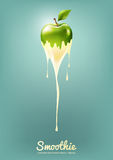 Green Apple Yogurt and Smoothie milk with fruit, Juice concept, Vector Illustration Royalty Free Stock Images