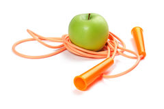 A green appleand rope Royalty Free Stock Images