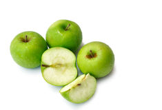 Green apples. These green apples isolated on white background stock photography