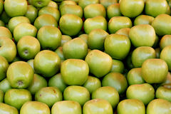 Green apples. On a market stall Royalty Free Stock Images